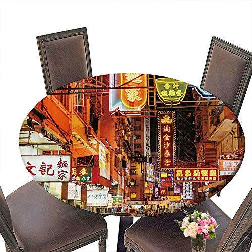(PINAFORE Circular Table Cover Busy Street Scene with neon Signs in Hong Kong for Wedding/Banquet 31.5