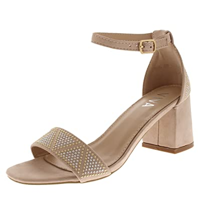 e3a78de06a4 Womens Sandal Cut Out Block Heel Open Toe Barely There Ankle Strap Heels -  Nude Diamante