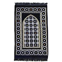 Ultra Lurex Turkish Islamic Prayer Rug Plush Velvet Janamaz Prayer Mat Very Thick - Blue Circle Design