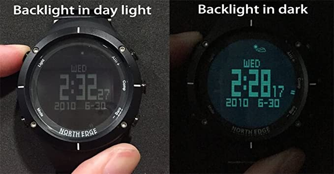 Amazon.com: NORTH EDGE Mens Military Digital Sports Watch LED Back Light Display Waterproof Casual Compass Stopwatch Alarm Multifunction Wrist Watch Black: ...