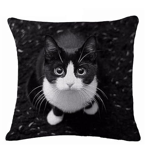 display08 Lovely diseño de gatos funda de almohada cojín manta para casa sofá decoración, Lino, 8#, 17.72