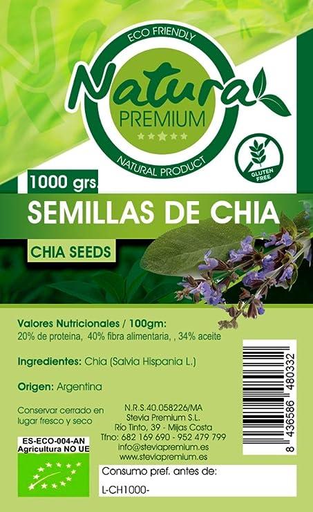 Natura Premium Chia Bio 1000 g: Amazon.es: Alimentación y bebidas