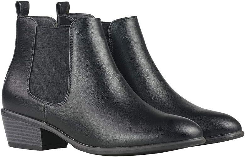 Merona Low Heel Ankle Booties Faux Leather Slip On Elastic Side Gracelyn Black