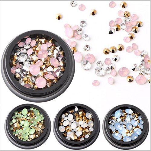 Cattie Girl 4 Boxes Protein Diamonds Nail Rhinestone Stone Japanese Nail stone Deigns Agate Decoration Tips Nail Art Crystal Holographic AB Chameleon Deco for UV Gel