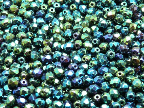 100pcs Czech Fire-Polished Faceted Glass Beads Round 4mm Jet Green ()