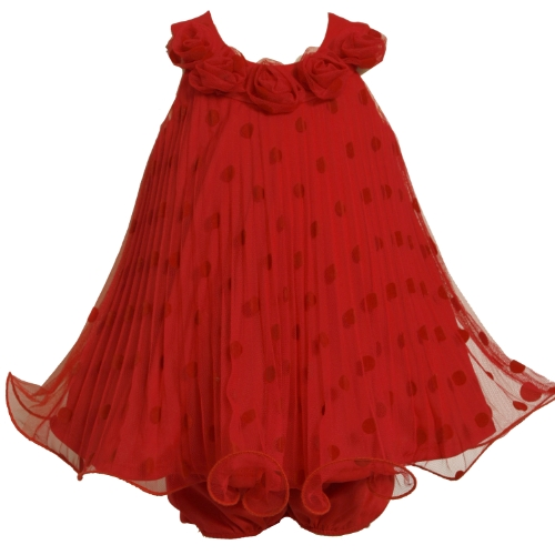 (Bonnie Baby Girls' Flocked Dot Mesh Dress With Wire Hem, Red, 24 Months )