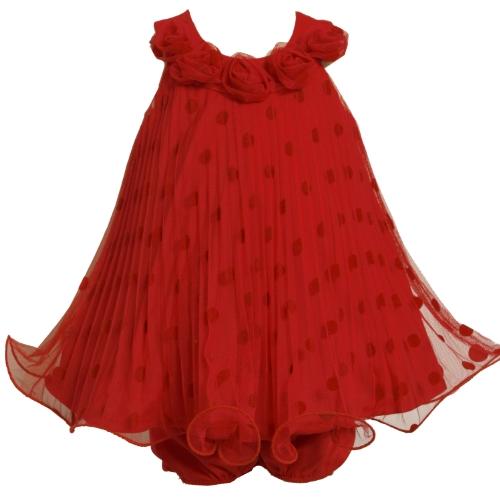 Flocked Dot Dress (Bonnie Baby Girls' Flocked Dot Mesh Dress With Wire Hem, Red, 24 Months)