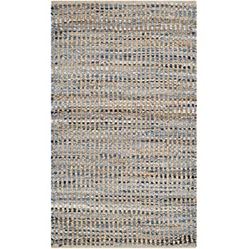 2u0027 3 x safavieh cape cod collection cap352a hand woven flatweave natural and blue striped jute area rug