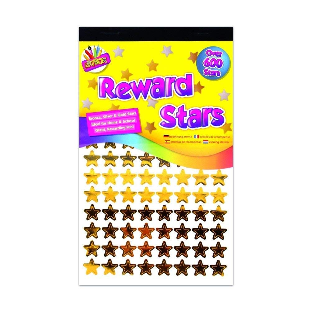 600 x Reward Star Stickers Silver Gold Bronze Home School Teacher Good Work