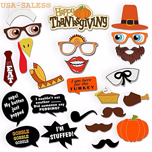 [USA-SALES] Thanksgiving Day Photo Booth Props, Happy Thanksgiving Photo Booth Props Decorations, Attached to the stick NO DIY REQUIRED, by USA-SALES Seller
