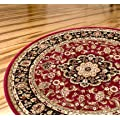 "Persian Classic Red Burgundy 53"" Round Area Rug Oriental Floral Motif Detailed Classic Pattern Antique Living Dining Room Bedroom Hallway Office Carpet Easy Clean Traditional Soft Plush Quality"