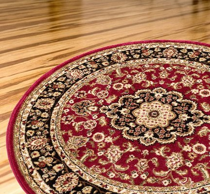 Persian Classic Red Burgundy 7'10'' ROUND Area Rug Oriental Floral Motif Detailed Classic Pattern Antique Living Dining Room Bedroom Hallway Office Carpet Easy Clean Traditional Soft Plush Quality (Set Dining Round Large)