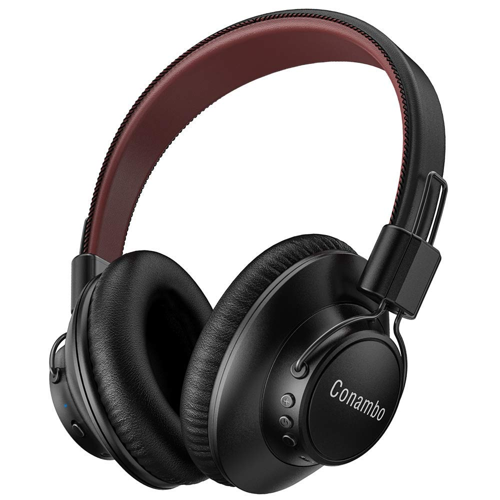 Active Noise Cancelling Headphones, Conambo CQ7 Bluetooth Headphones Over Ear with Hi-Fi Deep Bass, CVC 6.0 Microphone, Soft Protein Ear Pads, Wireless Headphones for PC/Phones