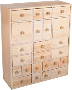 Vencer Wooden Christmas Advent Calendar Storage Organizer with 24 Drawers,Jewelry Box,Desktop Organizer,DIY Unfinished Wood,Measures14in x 12in x 4.5in,VYO-021