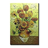 Amei Art Paintings, 36X48 Inch The Sunflowers by Vincent Van Gogh - Oil Painting Modern Home Decor Wall Art Painting Wood Inside Framed Hanging Wall Decoration Abstract