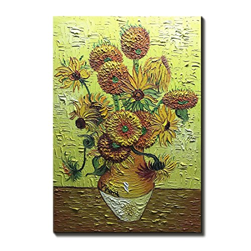Amei Art Paintings,The Sunflowers Vincent Van Gogh Oil Painting on Canvas 3D Hand-Painted Flowers Artwork Modern Home Office Decorations Wall Art Painting Ready To Hang (24x36 Inch)