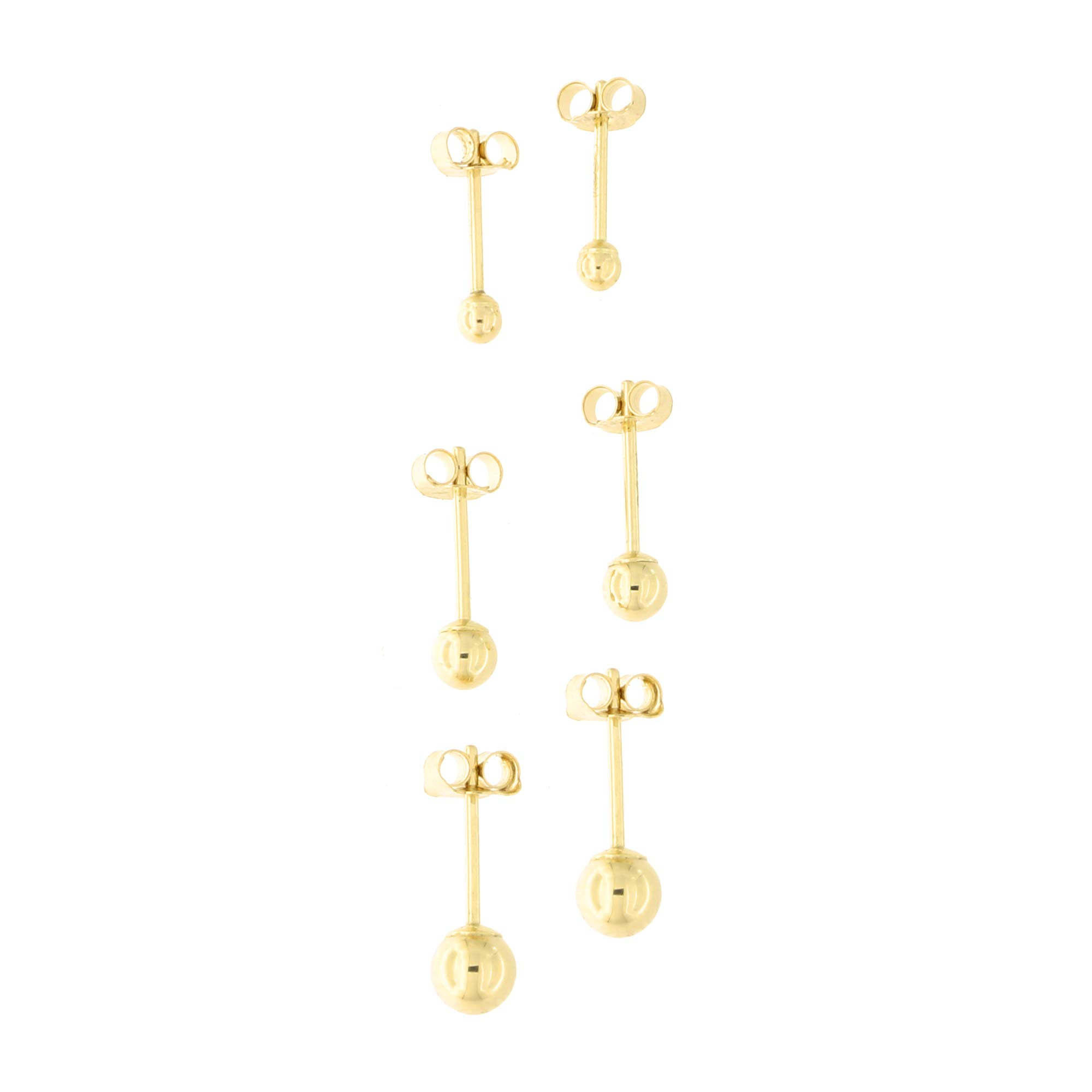 14k Yellow Gold 2 Millimeters, 3 Millimeters and 4 Millimeters Ball Stud Earrings Set