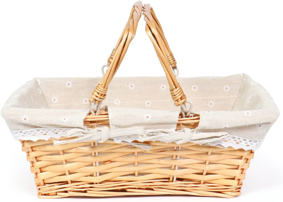 MEIEM Wicker Basket Gift Baskets Empty Rectangular Willow Woven Picnic Basket Easter Candy Basket Large Storage Basket Wine Basket with Handle Egg Gathering Wedding Basket (Natural)