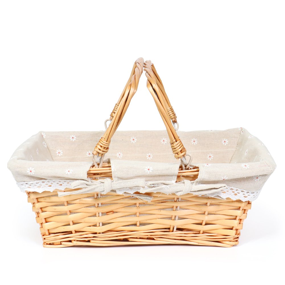 MEIEM Easter Basket Gift Basket Wicker Woven Picnic Basket with Double Folding Handles Rectangular Willow Basket (Natural)