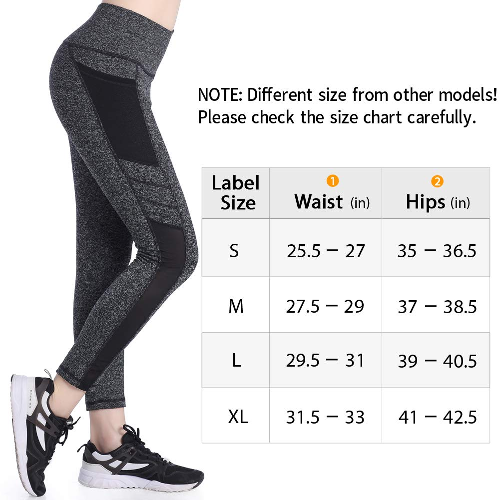 Picotee Women's Mesh Yoga Pants Sports Tights Workout Running Fitness Pants Yoga Leggings With Side Pocket (L, Grey)