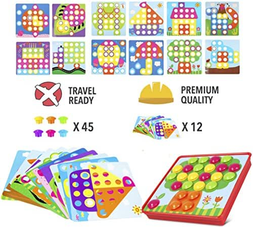 PinSpace Button Art Color Matching Mushrooms Nails Mosaic Pegboard Puzzle Games with 12 Templates, Fine Motor Skills Toys Preschool Educational Learning Toys Best Gift for Boys and Girls