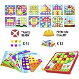 PinSpaceButton Art Color Mushrooms NailsMatching Mosaic Pegboard Puzzle Games with 12 Templates, Fine Motor Skills Game,Best gift for Boys and Girls
