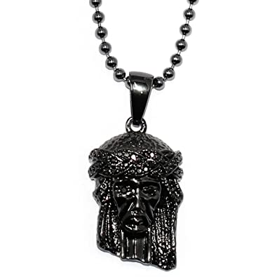 jesus iced piece pendant franco hip hop cz gold finish mens chain out necklace