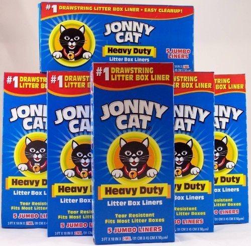 61KTcwyhWAL - Jonny Cat Litter Box Liners, Heavy Duty, Jumbo 5 Ct. (Pack 6) by Jonny Cat