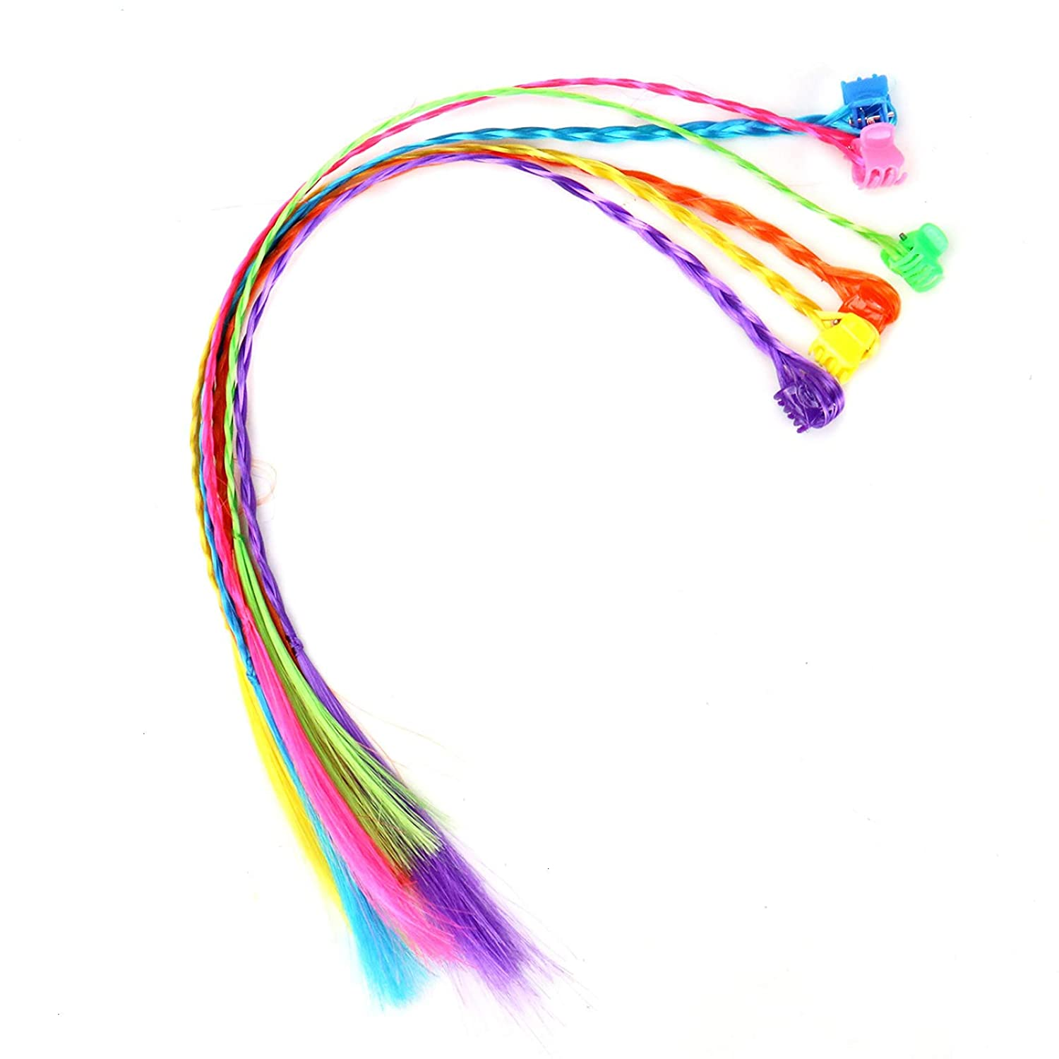 WSSROGY 24 Pieces Nylon Braided Hair Neon Hair Braid Extensions Attachments with Neon Clip Snaps for Birthday Party Favors and Children Performance 7 Colors