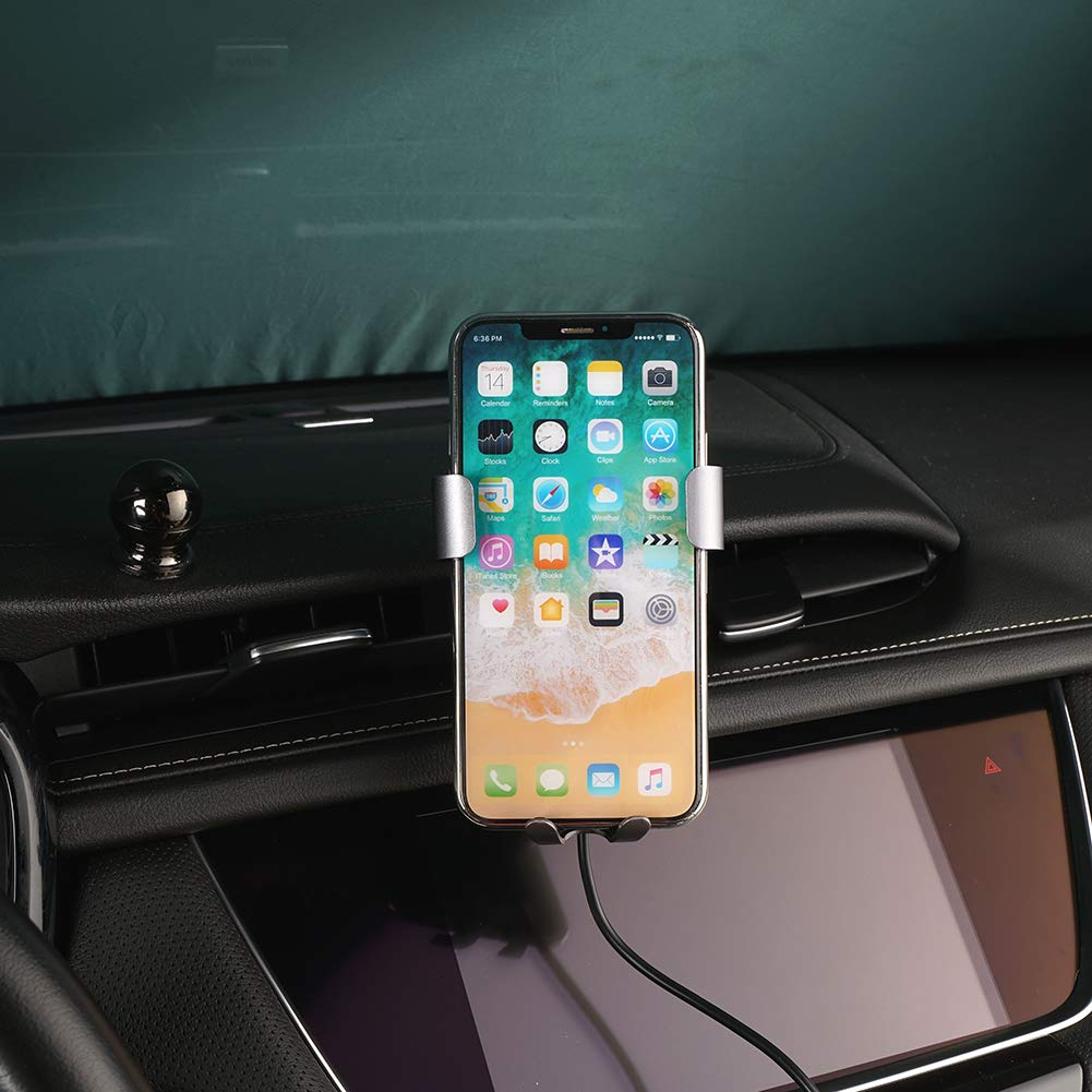 Phone Holder for Cadillac XT5 Dashboard Air Vent Adjustable Cell Phone Holder for Cadillac XT5 2019 2018 2017,Phone Mount for iPhone 8 iPhone X,Wireless Charging Smartphone 5.5~6 in CLEC