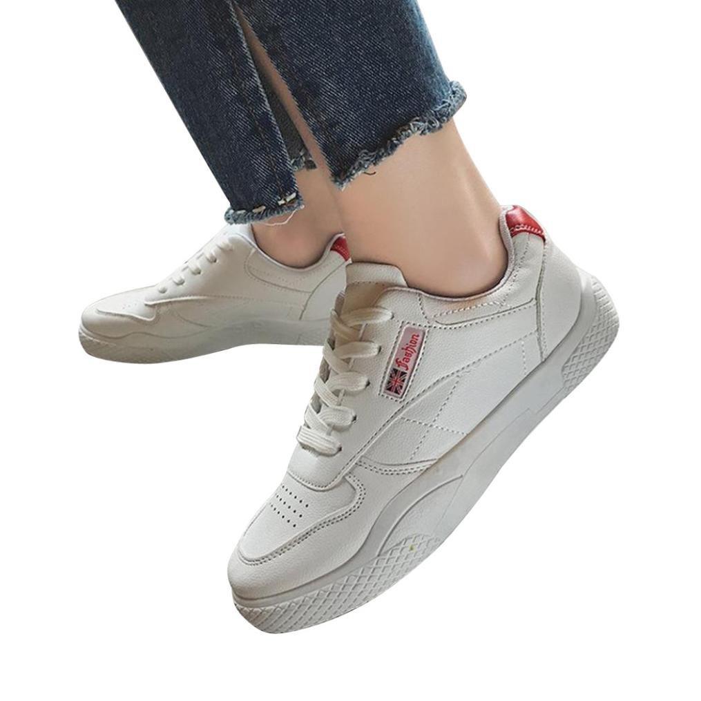 Morwind Scarpe Running Donne Uomo - Scarpe Sneaker Donne - Scarpe Sportive Donne Solido Colore Tacco Piatto Casual Scarpe Ginnastica Scarpe RunningRosso