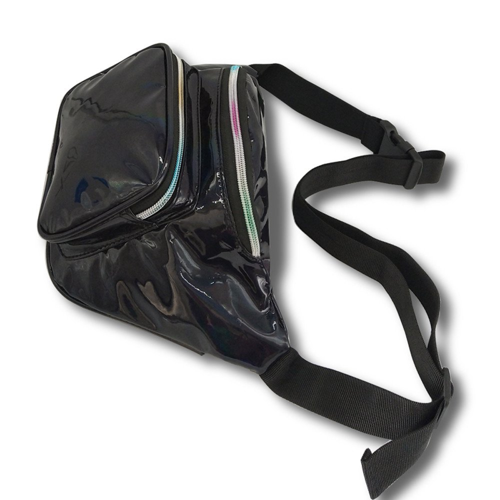 Women Laser Waterproof Leather Crossbody Bag Messenger Shoulder Bag Chest Bag Travel Waist Pack Fashion Belt Bags Waist Bag Black by Tianjinrouyi-Bags (Image #5)