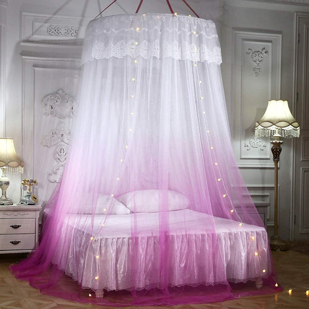 Large Romantic Gradient Color Dome Mosquito Net Curtain Princess Bed Canopy Lace Round Tent Bedding Blue