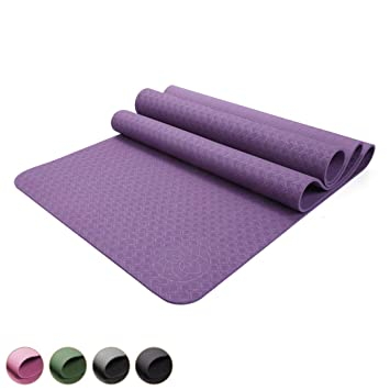 Yamkas Esterilla de Yoga TPE | Antideslizante y Ecológica | Colchoneta Gimnasia | Pilates | Fitness | Sport | 183 x 61 x 6mm