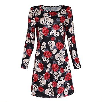 New Womens Ladies Halloween Skull Long Sleeve Party Mini Dress Women Fancy Costume Vampire Horror Blood