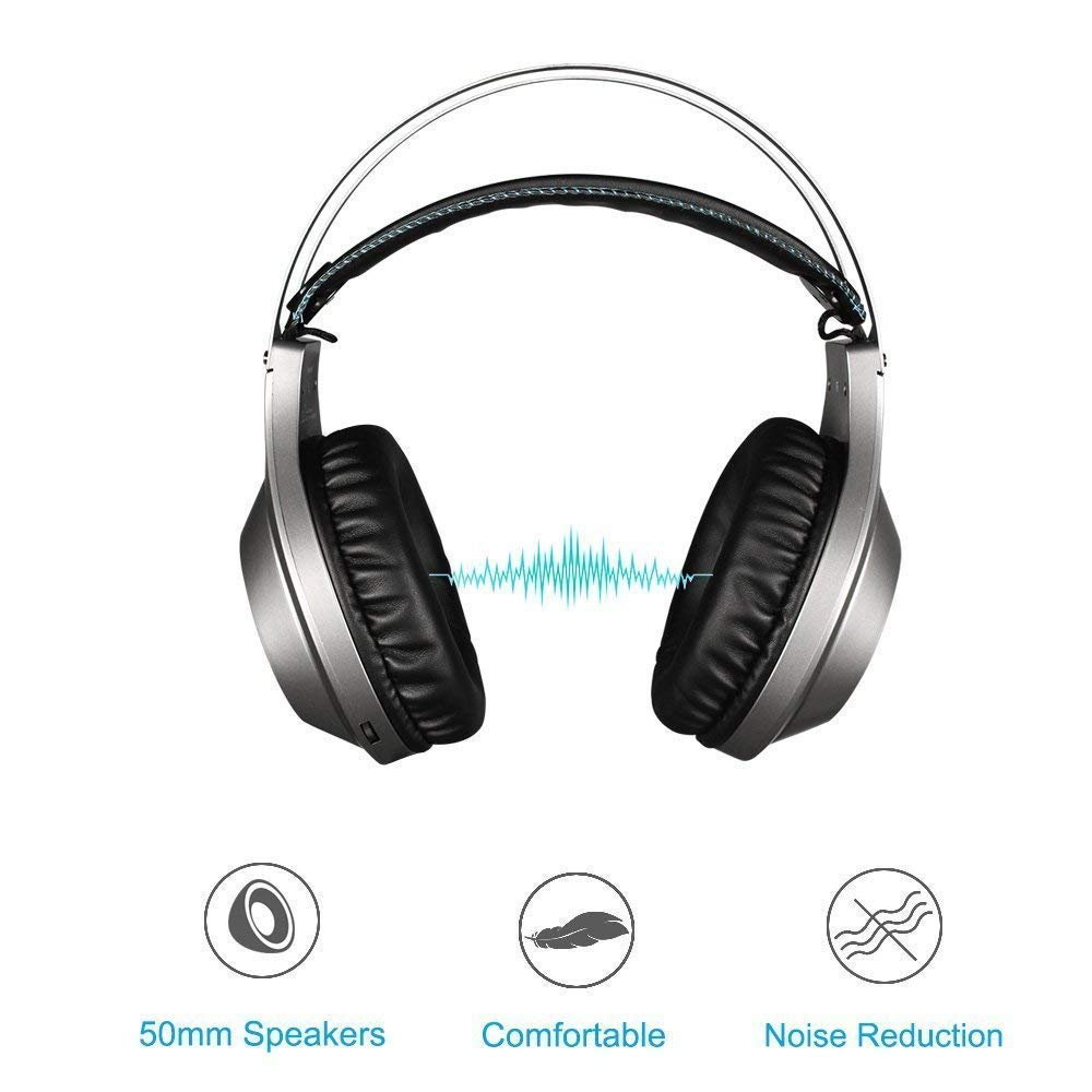 Gaming Headset, NUBWO Wired Gaming Headphones with Microphone and Volume Control for PC/Ps4/Xbox one 1 /Phone/Laptop (Silver) by NUBWO (Image #4)