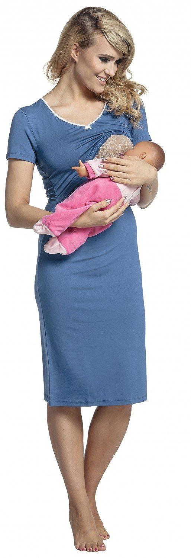 Womens Maternity Nursing Breastfeeding Nightdress Shirt Gown 274p Happy Mama