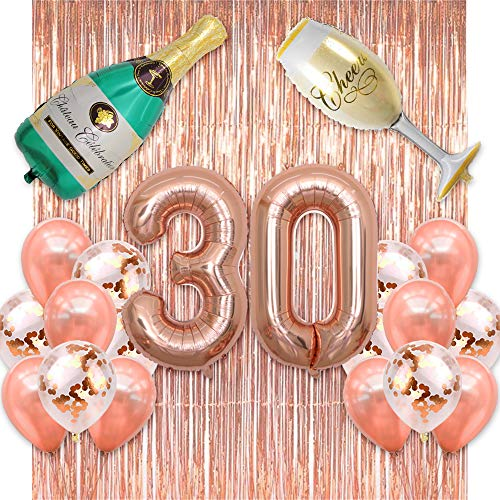 BALONAR 40 inch Jumbo Rose Gold 30 Number Balloons with Backdrop Rose Gold Fringe Curtains Confetti Balloons Champagne Bottle and Flute Decoration for Birthday Party Anniversary Ceremony (Rose Gold)