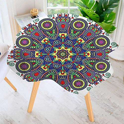aolankaili Hand Screen Printed Tablecloth- Embellished Circle with Elements Modern Printed Spill Proof Cloth Round Tablecloths 40