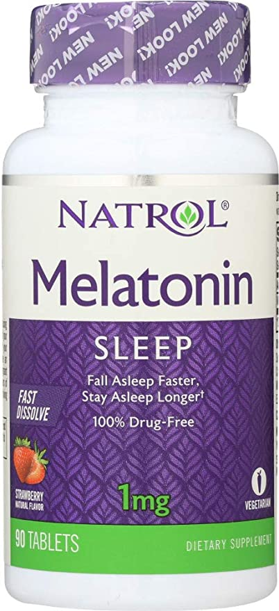 Natrol (NOT A CASE) Melatonin Strawberry Flavor 1 Mg, 90 Tablets