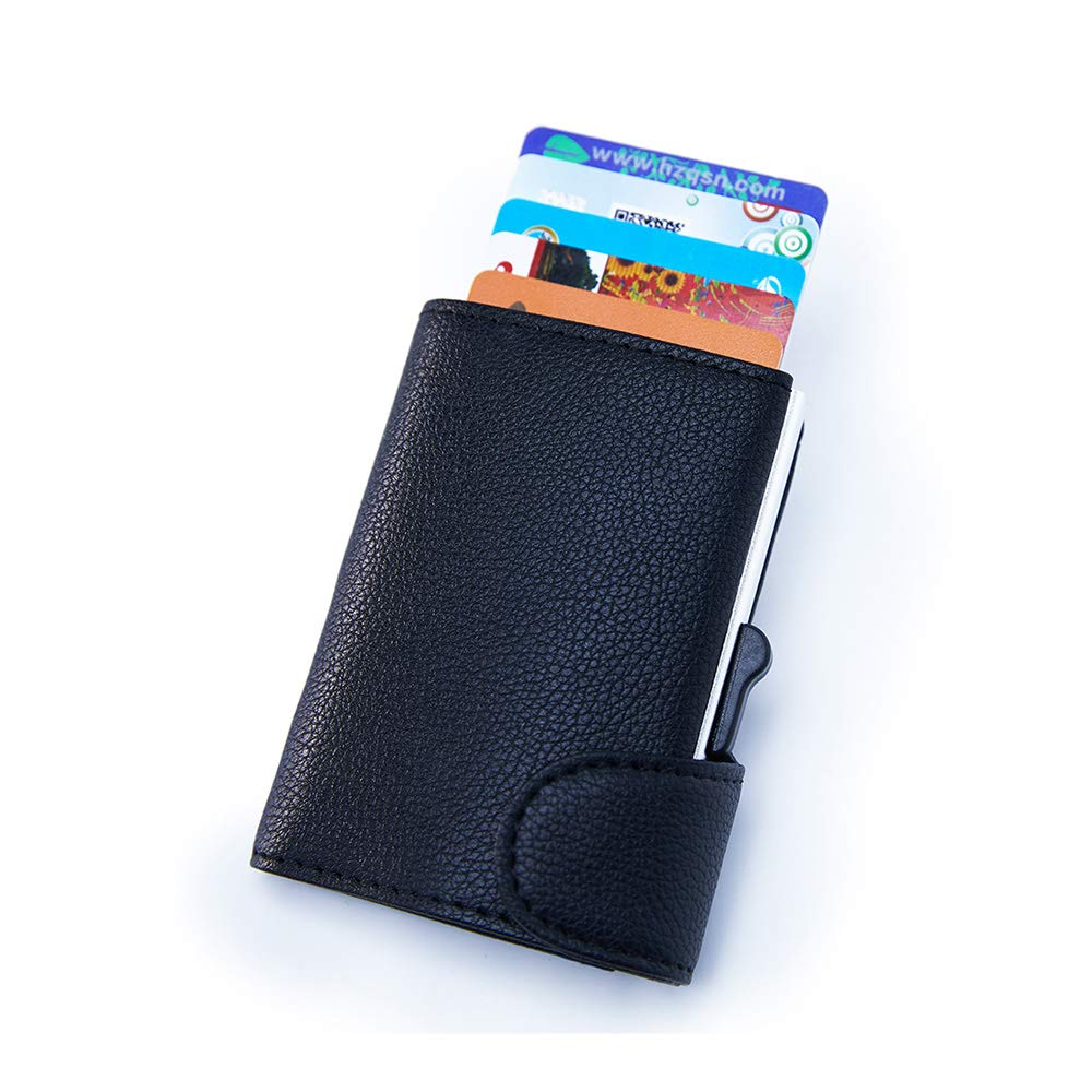 Credit Card Holder RFID Blocking Wallet Automatic Pop up Metal Card Case for Men and Women Holds up to 6 Cards