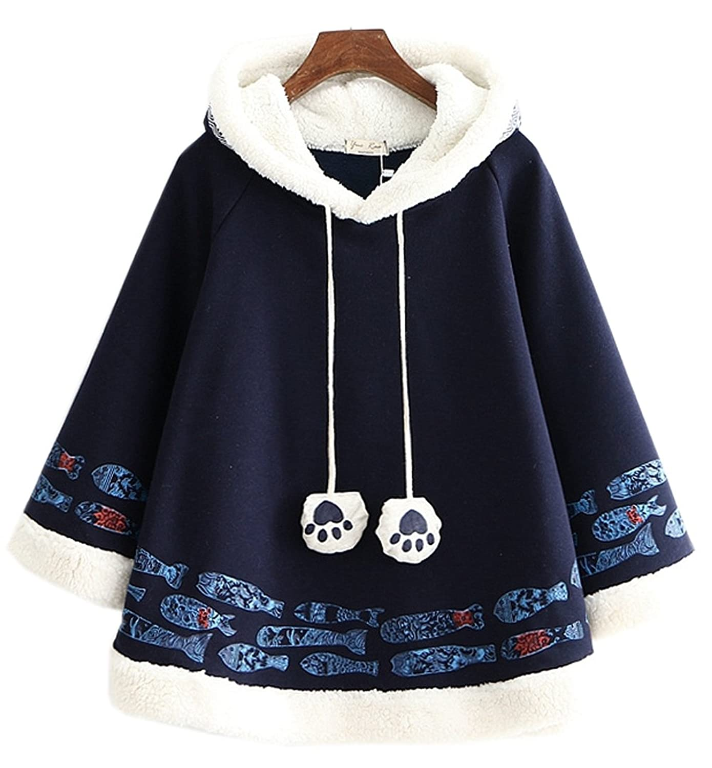 Women's Cashmere Cute Fish Pattern Cape Drawstring Hooded Coat Poncho