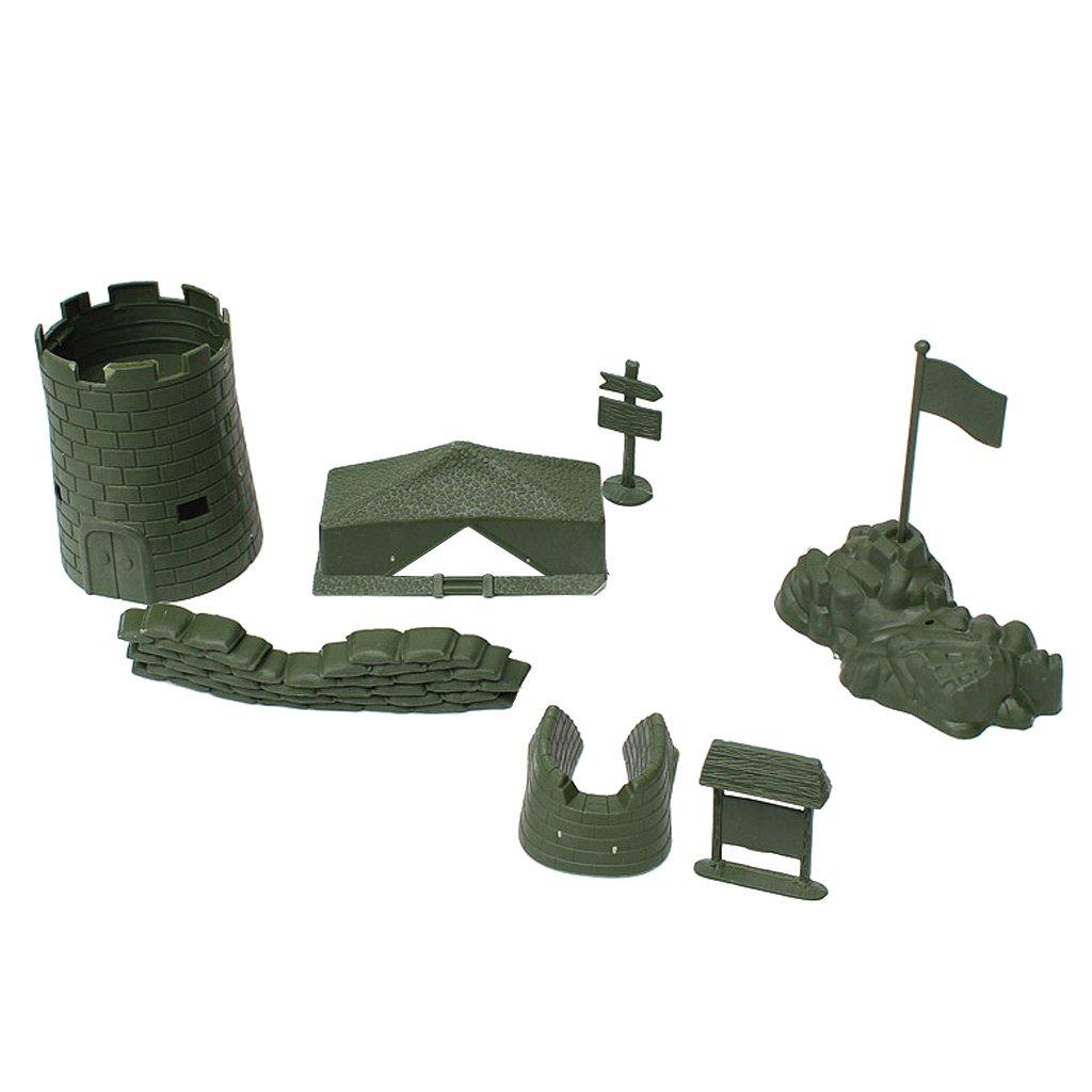Fenteer 7PCS Ensembles Base de L'armée Vert en Plastique Modèle Scène de Sable Accessoire Ornement pour Soldat Armée