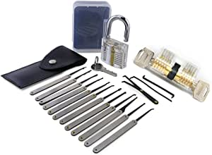 Moli 15pcs Locksmith Tool with 2pcs Transparent Lock,Great Lock Pick Set for Beginner,Transparent Lock Picking Practice Set