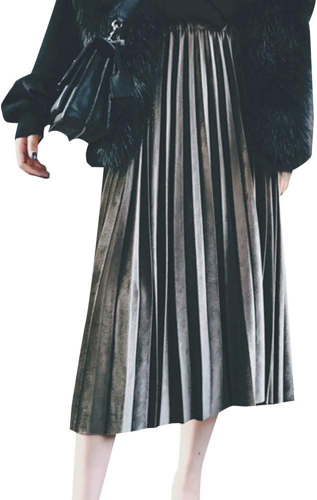Falda Plisada Larga para Mujer De Retro Fiesta Partido Falda Verde ...