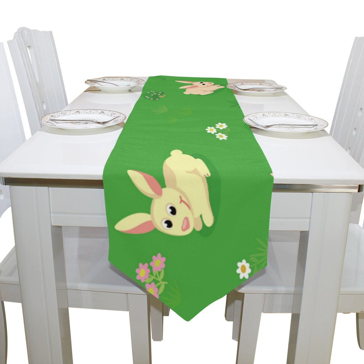 ALAZA Easter Rabbit Collection Table Runner For Dinner Parties, Valentine's Day Decor Country Holiday Birthday Wedding Party 13 x 90 inch by INGBAGS (Image #2)