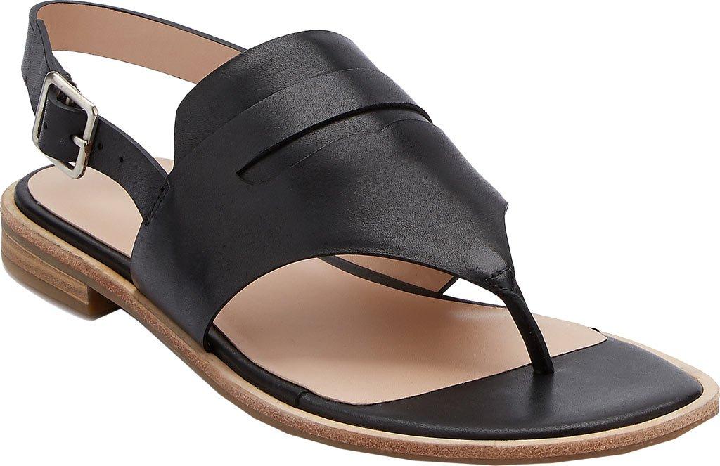 G.H. Bass & Co. Women's Maddie Flat Sandal B01N6LR2CJ 6.5 B(M) US|Black Leather