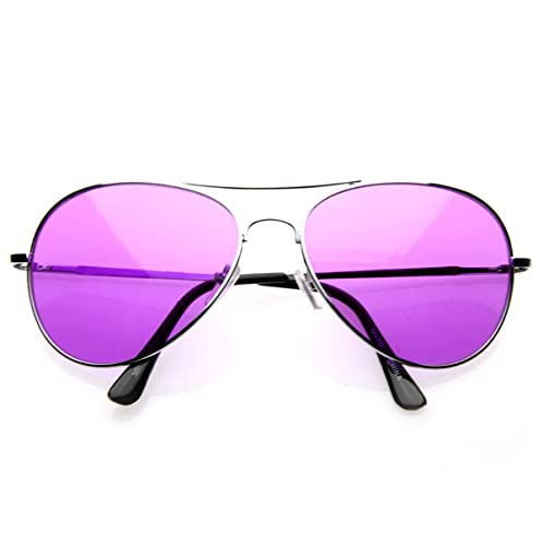 7476e547c0a81 Image Unavailable. Image not available for. Color  Colorful Premium Silver  Metal Aviator Glasses with Color Lens Sunglasses ...