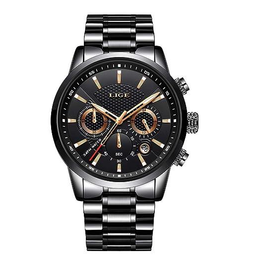 Relojes para Hombres, Relojes Casuales de Lujo Clásicos de Acero Inoxidable Negro con Calendario Multifunciones Impermeables Reloj de Pulsera Milanesa de ...