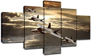 US Military Aircraft Pictures Jet Fighter Wall Art Paintings Decorations for Living Room 5 Piece Canvas Art Stretched Framed Wall Decor for Bedroom(60''Wx32''H)